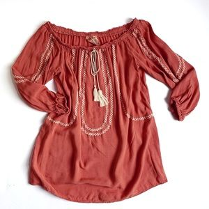 Flying tomato off shoulder peasant top blouse red